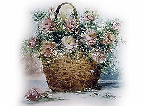 Basket of Roses Ceramic Decals Select Size # 11473