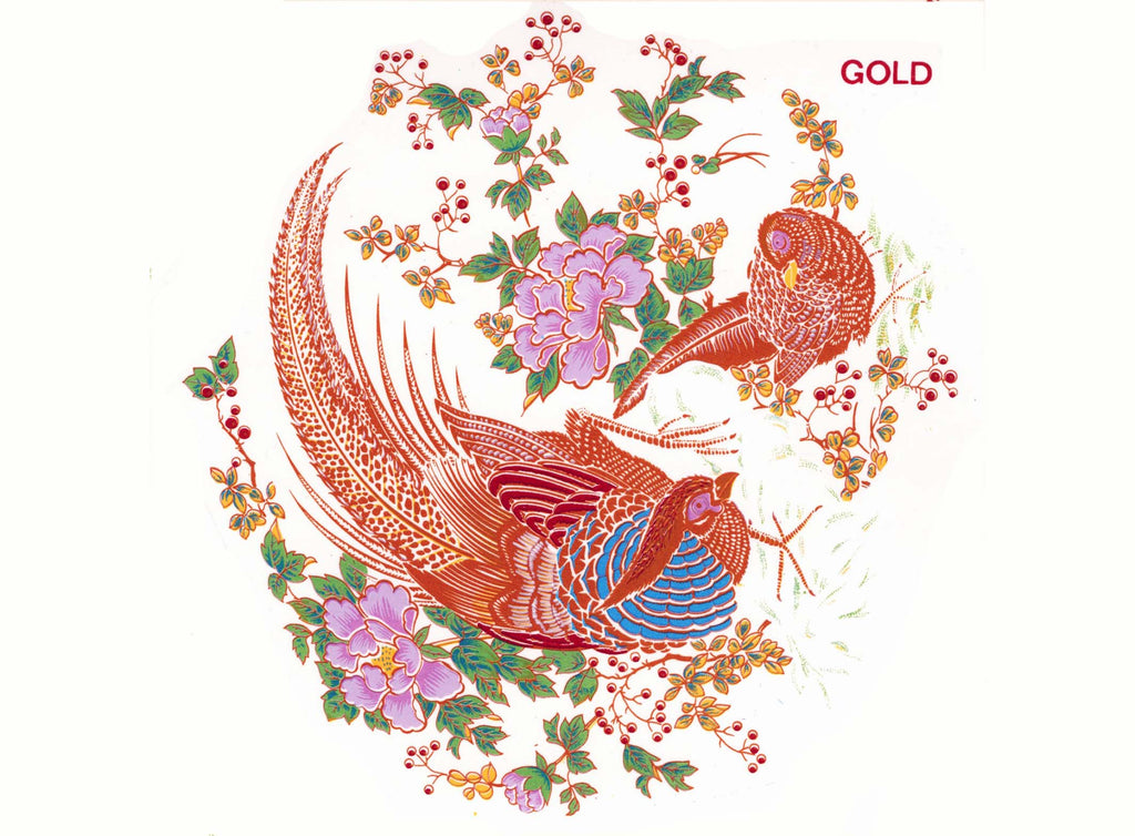 "Oriental Pheasants in Gold with Pink Flowers 4 pcs  5-1/2"" Item # 121"