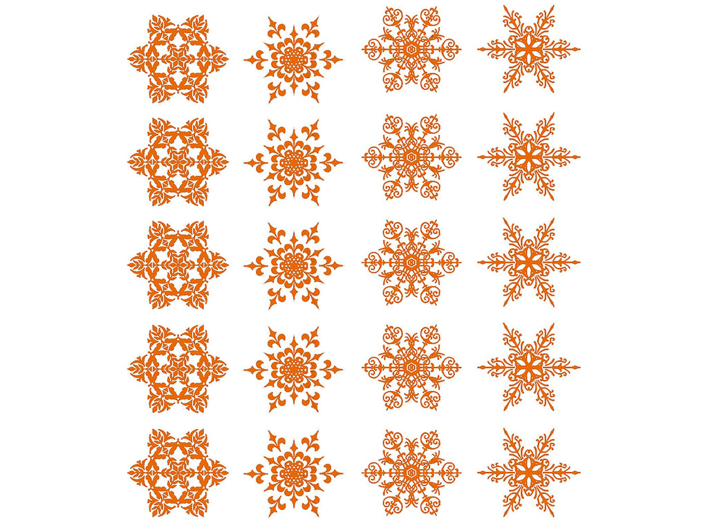 "Snowflakes 20 pcs 5/8"" Gold Fused Glass Decals 20CC1272"