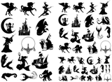 "Fantasy Magic  1/4"" to 1-1/4""  Black #107 or White #128 Fused Glass Decals"