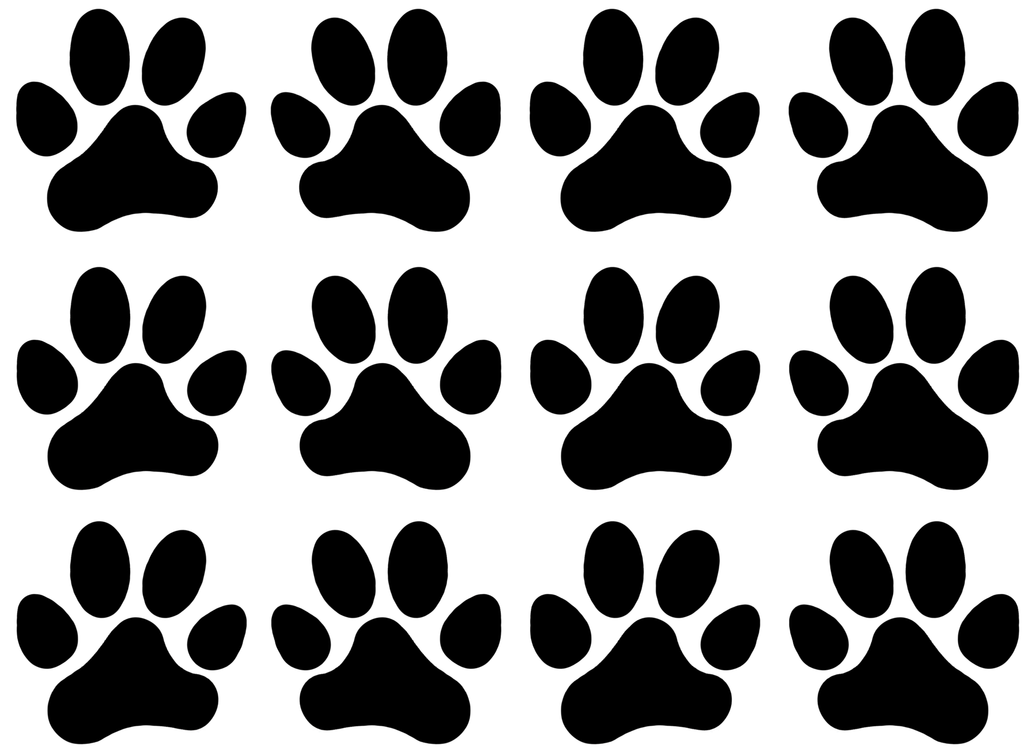 "Paw Prints  1-1/2"" Black 881 or White 1121 Fused Glass Decals"