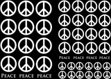 "Peace Signs  1/2"" to 1"" Black  or White  Fused Glass Decals"