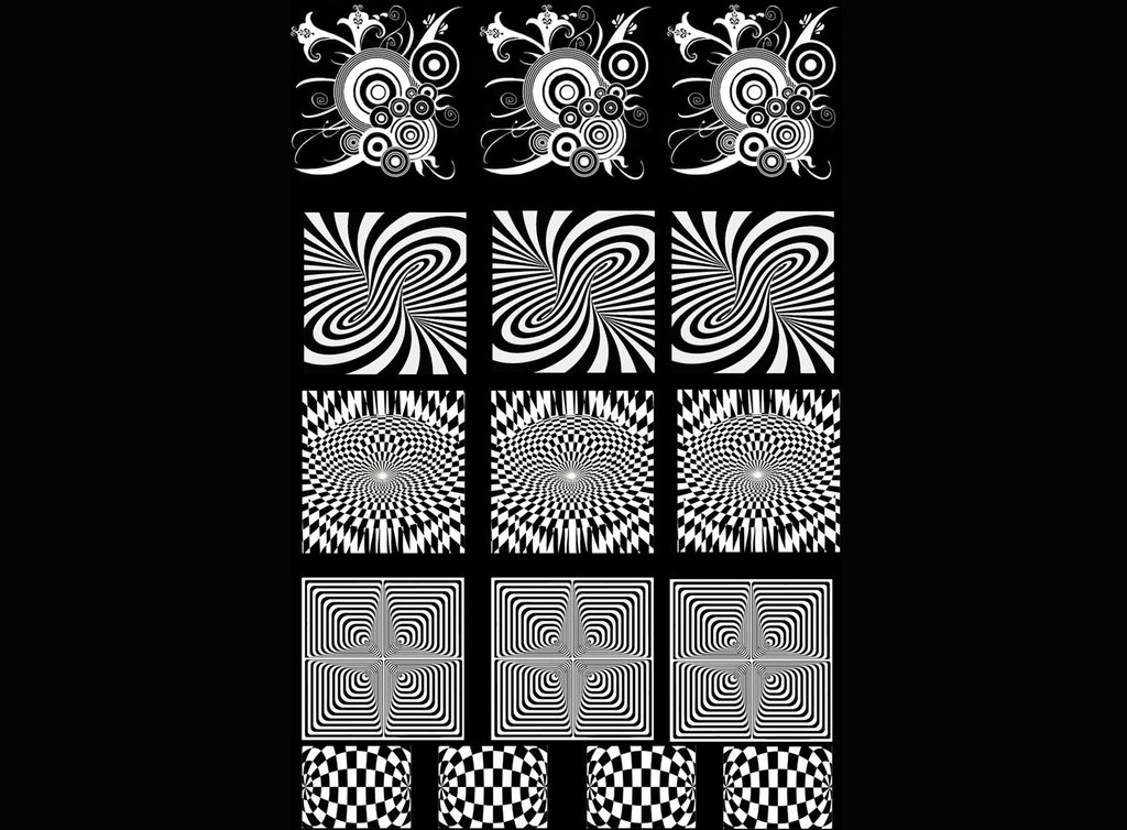 "Optical Illusions 7/8"" to 1-1/4"" White  Fused Glass Decals"