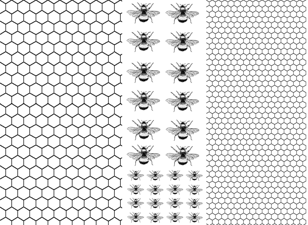 Honeycomb Bees   Black #220 Fused Glass Decals