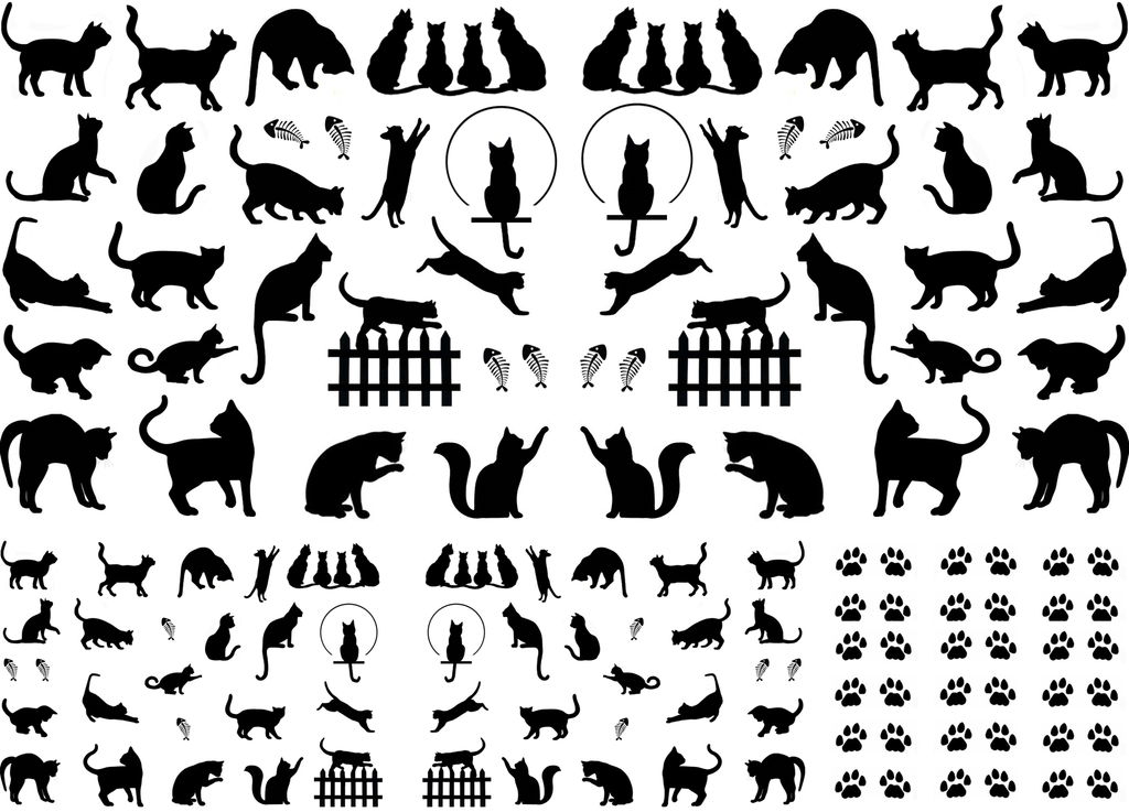 "Mini Cats  1/4"" to 1"" Black or White  Fused Glass Decals"