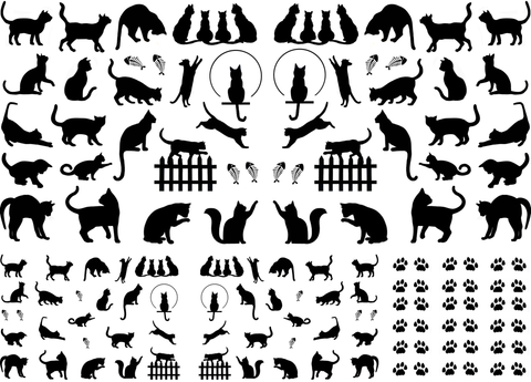 "Mini Cats  1/4"" to 1"" Black #537 or White #598 Fused Glass Decals"