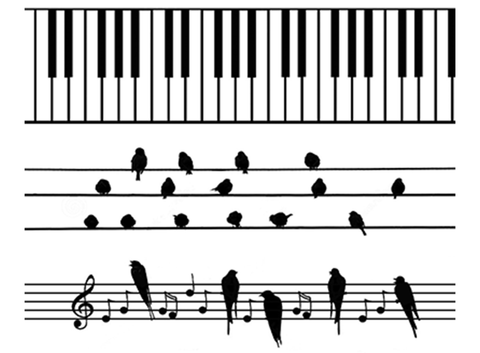 "Barrette Birds Piano Keys 3 pcs 4""  Black #383 Fused Glass Decals"