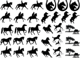 "Horse Play 7/8"" to 1-1/4""  Black #304 or White #586 Fused Glass Decals"