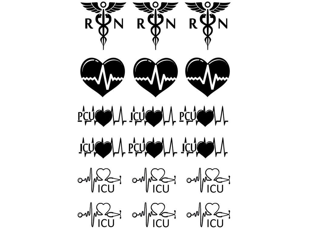 "RN ICU Nurse 1""  Black #309 Fused Glass Decals"