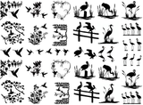 "Birds of a Feather  1/4"" to 1-1/4""  Black or White  Fused Glass Decals"