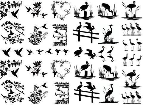 "Birds of a Feather  1/4"" to 1-1/4""  Black #311 or White #400  Fused Glass Decals"