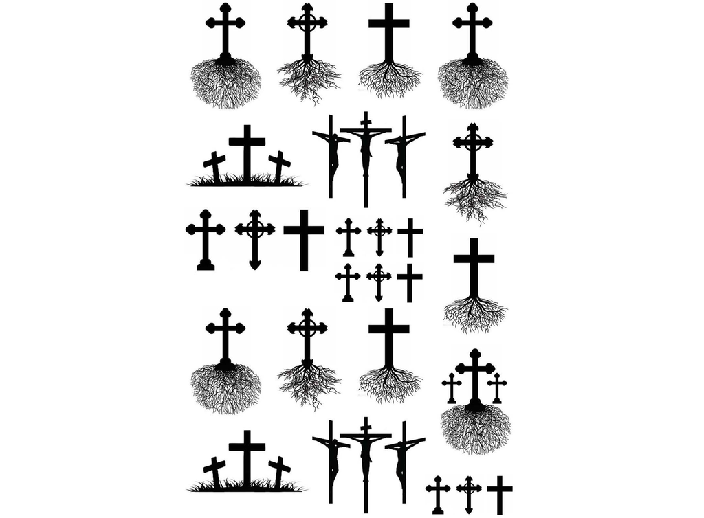 "Cross Roots  3/8"" to 1-1/16""  Black or White  Fused Glass Decals"