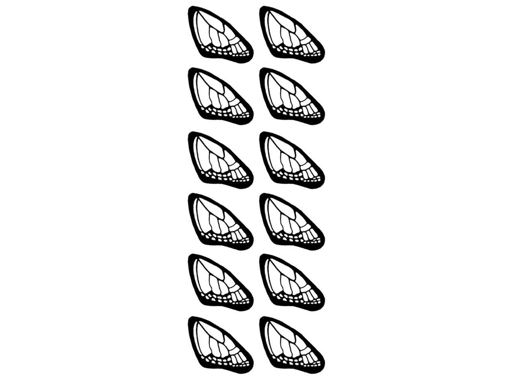 "Butterfly Wings  1-3/8"" Black #544 Fused Glass Decals"