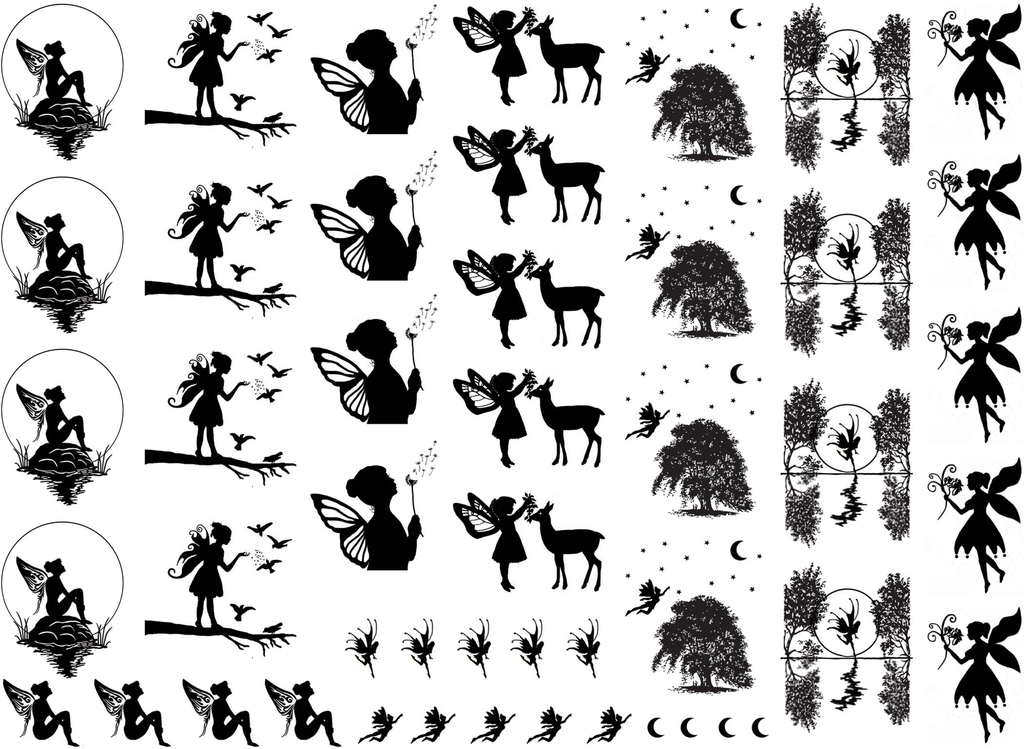 "Faeries Fairy 1/8"" to 1-1/8""  Black or White  Fused Glass Decals"