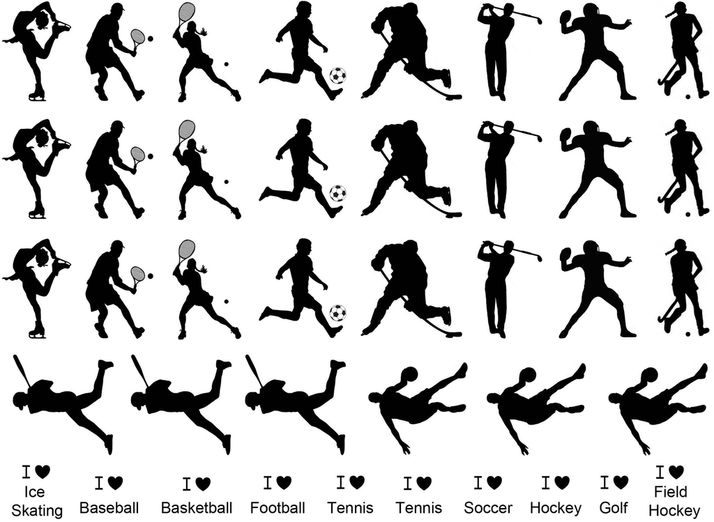"Sports Figures  1""  Black #321 Fused Glass Decals"