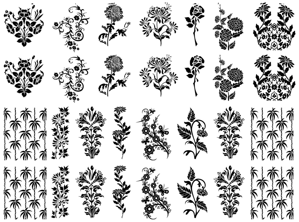"Art Deco Flowers  1"" to 1-1/4""  Black or White Fused Glass Decals"