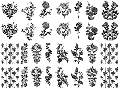 "Art Deco Flowers  1"" to 1-1/4""  Black #325 or White #373 Fused Glass Decals"