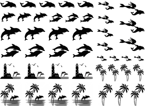 "Dolphin  1/2"" to 1-1/8""  Black #327 or White #359 Fused Glass Decals"