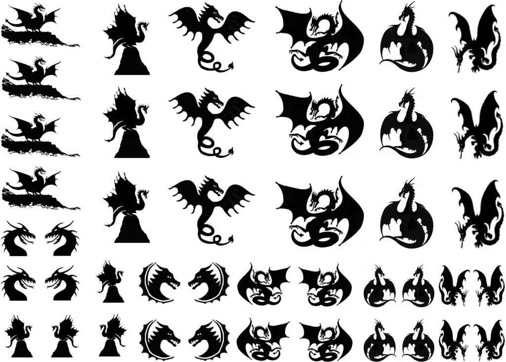 "Dragon Craze  5/8"" to 1-1/4"" Black #328 Fused Glass Decals"