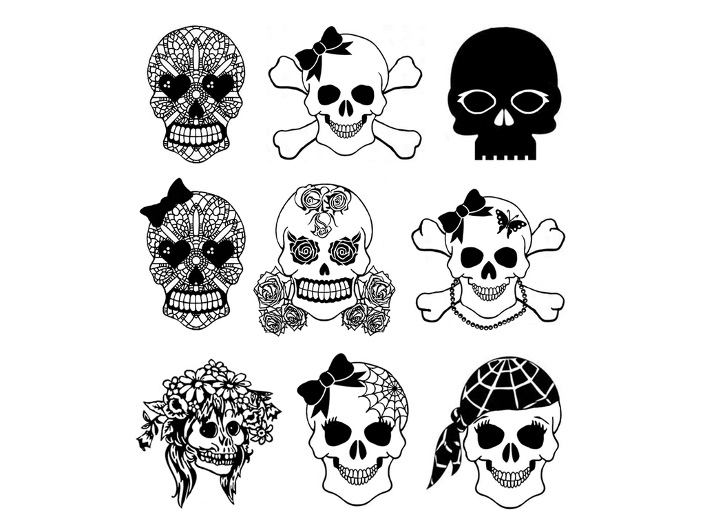 "Girlie Girl Skulls  9 pcs 1""  Black Fused Glass Decals"