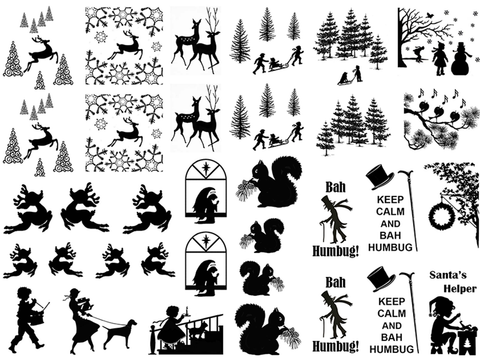 "Art Deco Winter 1/2"" to 1-1/8""  Black  Fused Glass Decals"