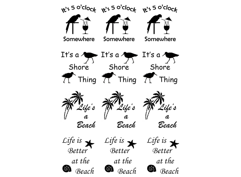 "Summer Fun  1 1/8""  Black or White  Fused Glass Decals"