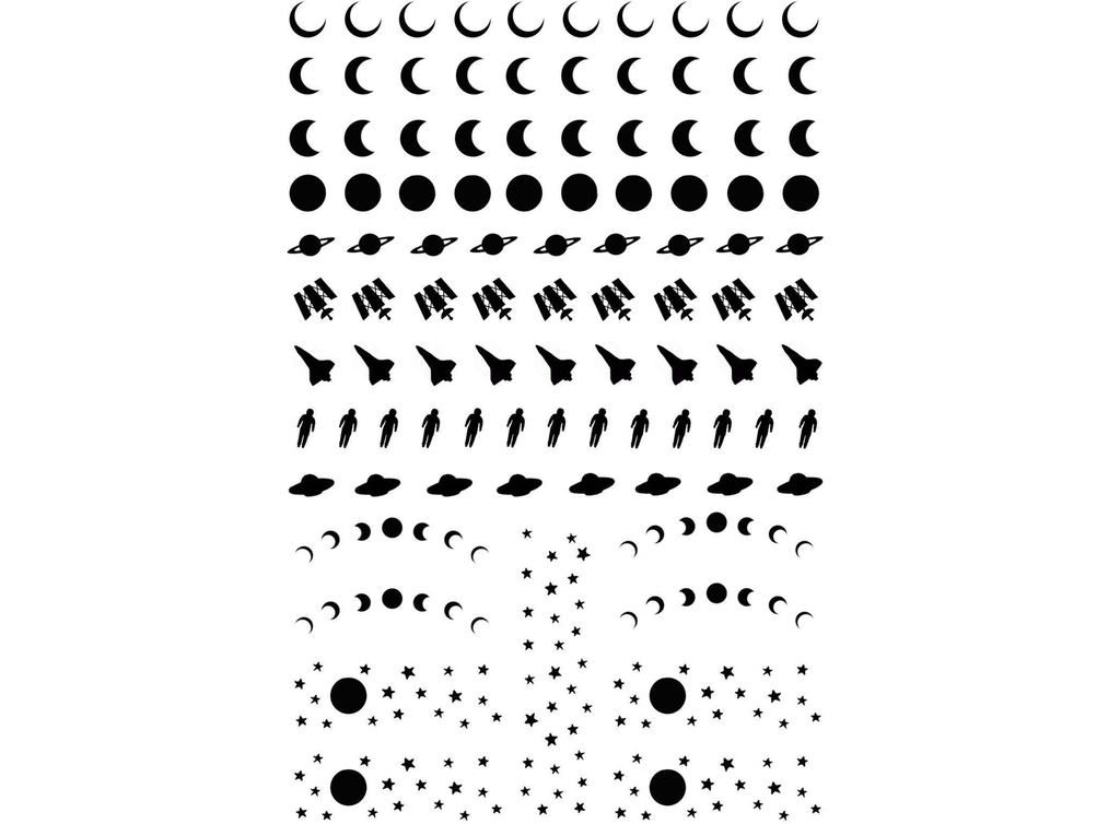 "Celestial Bits  1/4"" to 1-1/4""  Black #358 or White #369 Fused Glass Decals"