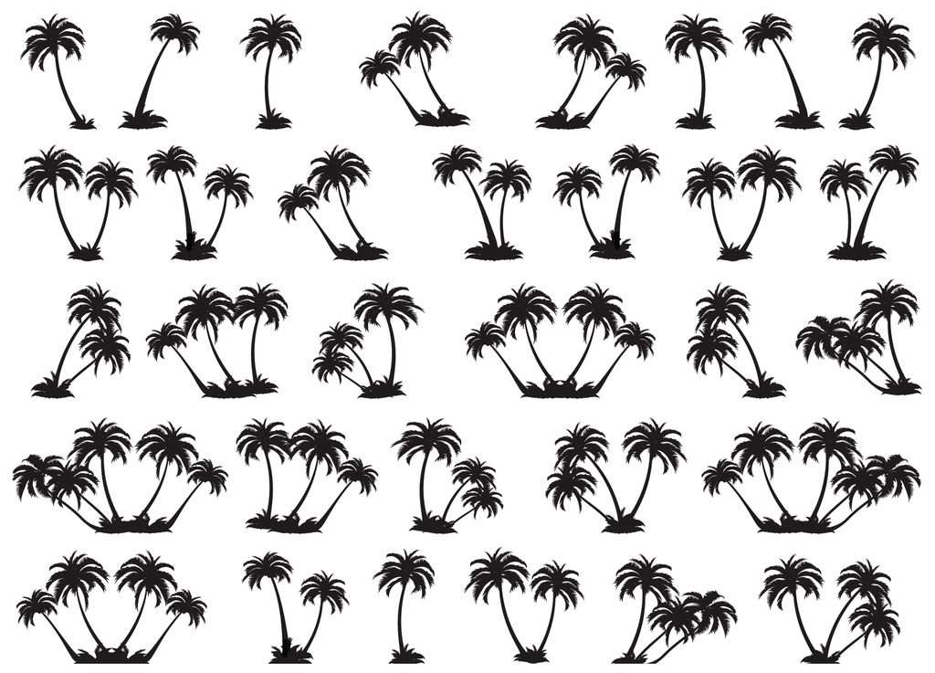 "Palm Trees 7/8"" Black #375 Fused Glass Decals"