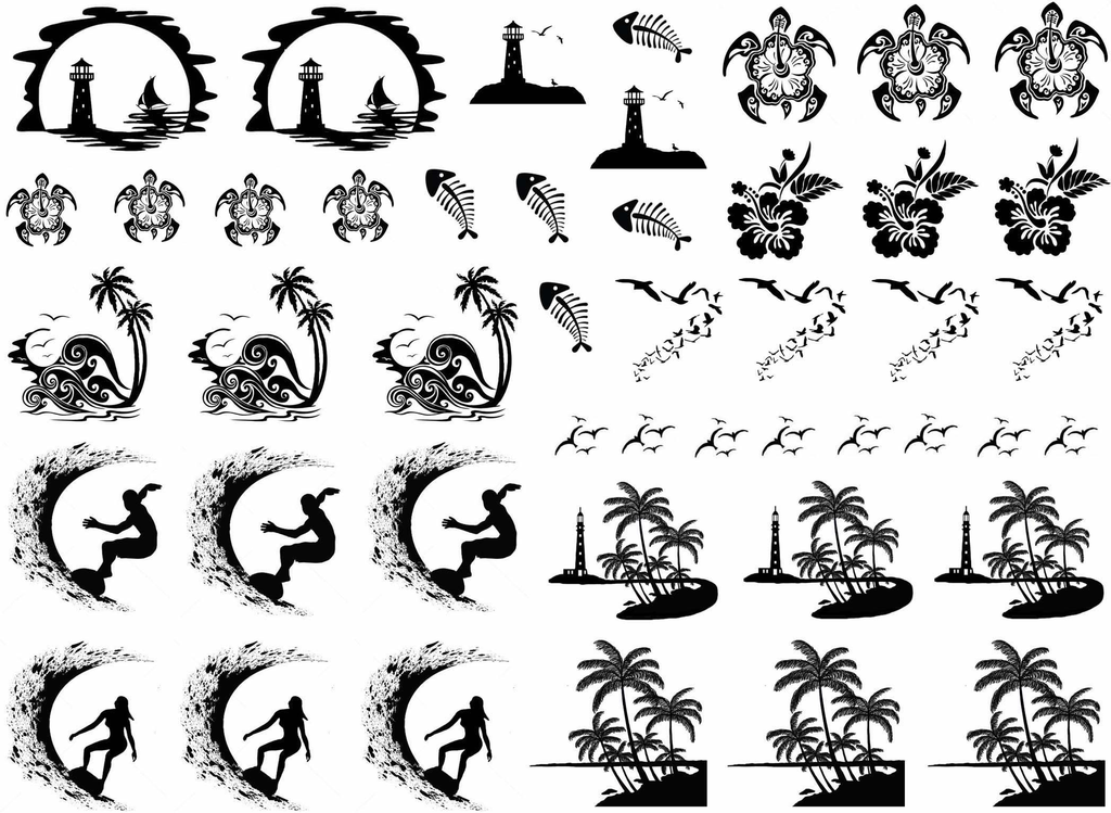 "Tropical Paradise  1/4"" to 1-1/4""  Black #378 or White #481 Fused Glass Decals"