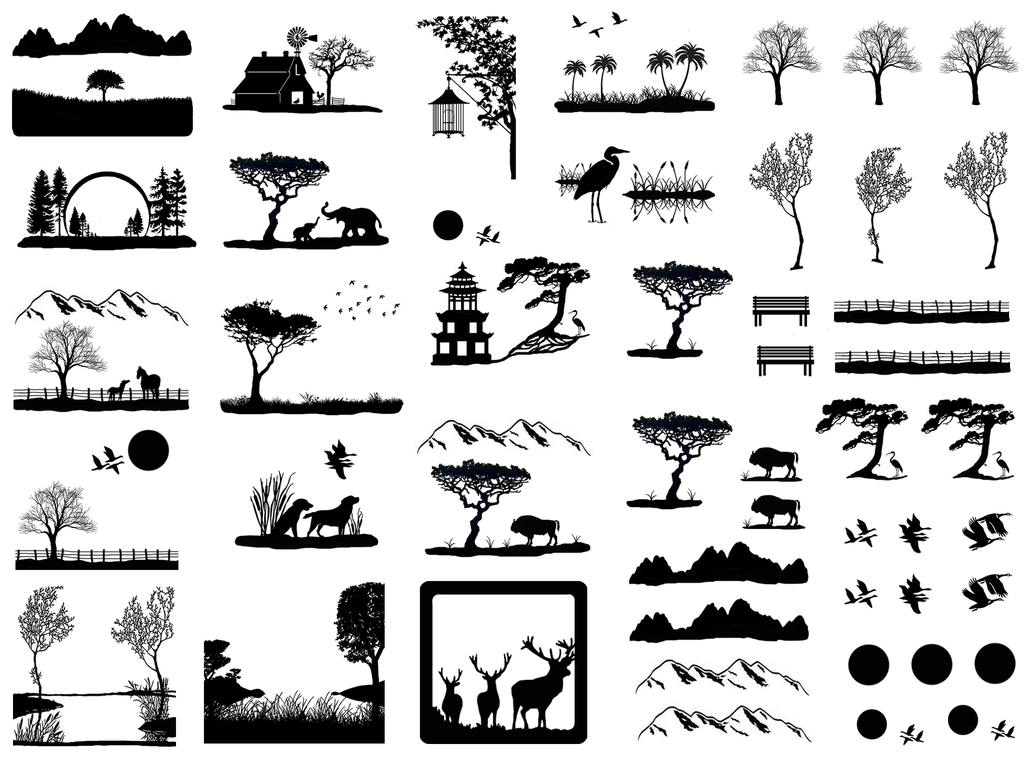 "Scenic Views 1/4""  to  1-1/4"" Black #379 Fused Glass Decals"