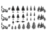 "Pine Trees   1/2"" to 1-1/8""  Black #382 or White #372 Fused Glass Decals"
