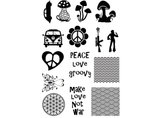 "Hippie Retro 1"" to 1-1/4""  Black #391 or White #434 Fused Glass Decals"