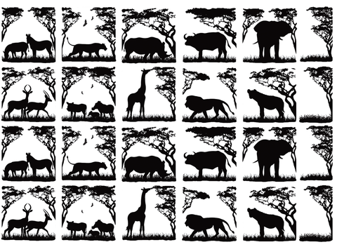 "Animals of Africa  1-1/8"" tall  Black #394 Fused Glass Decals"