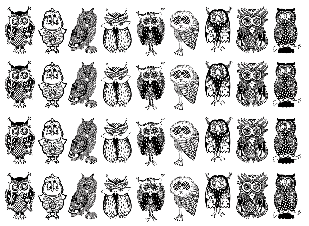 "Owl Mania 1"" Black #397 or White #432 Fused Glass Decals"