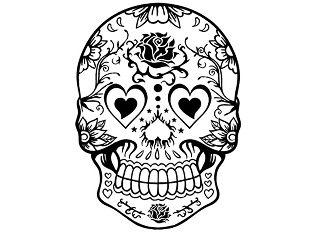 "Sugar Skull 2 pcs  3-1/4"" Black #650 or White #599 Fused Glass Decals"