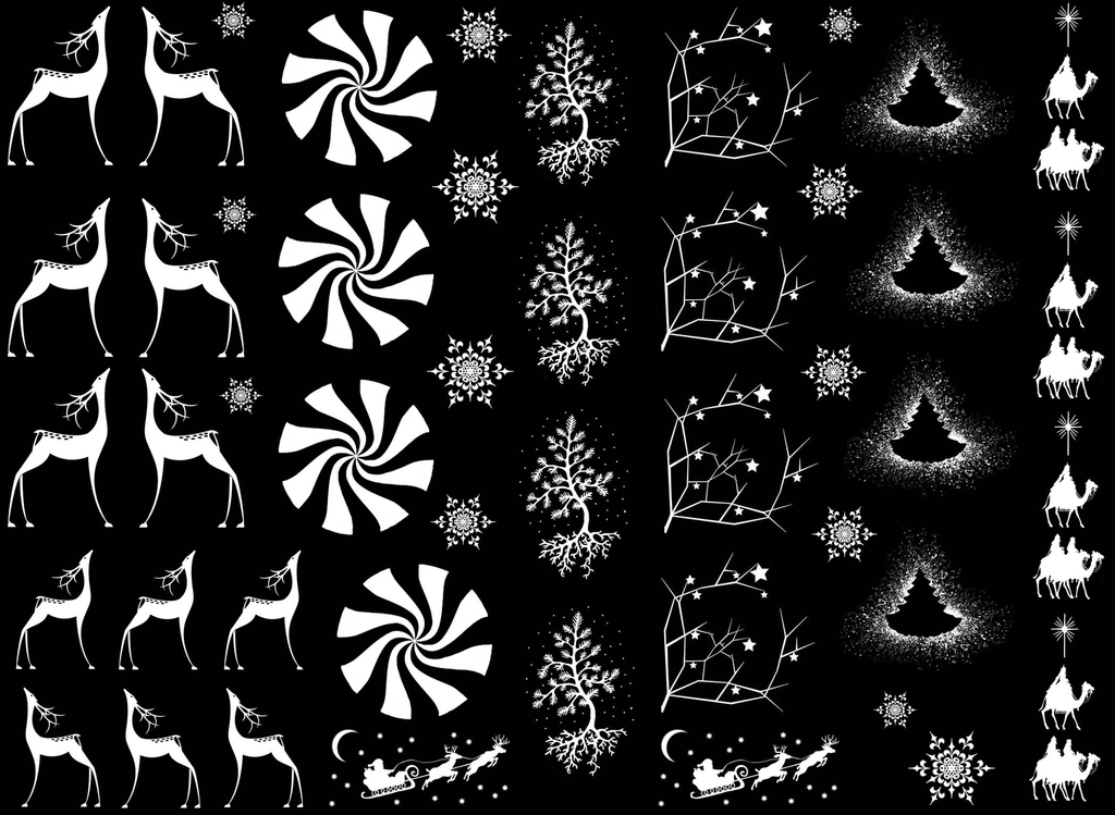"Christmas Elegance 1/4"" to 1""  White #403 Fused Glass Decals"