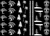 "Trees Grass  1"" to 1-1/4""  Black #442 or White #404 Fused Glass Decals"