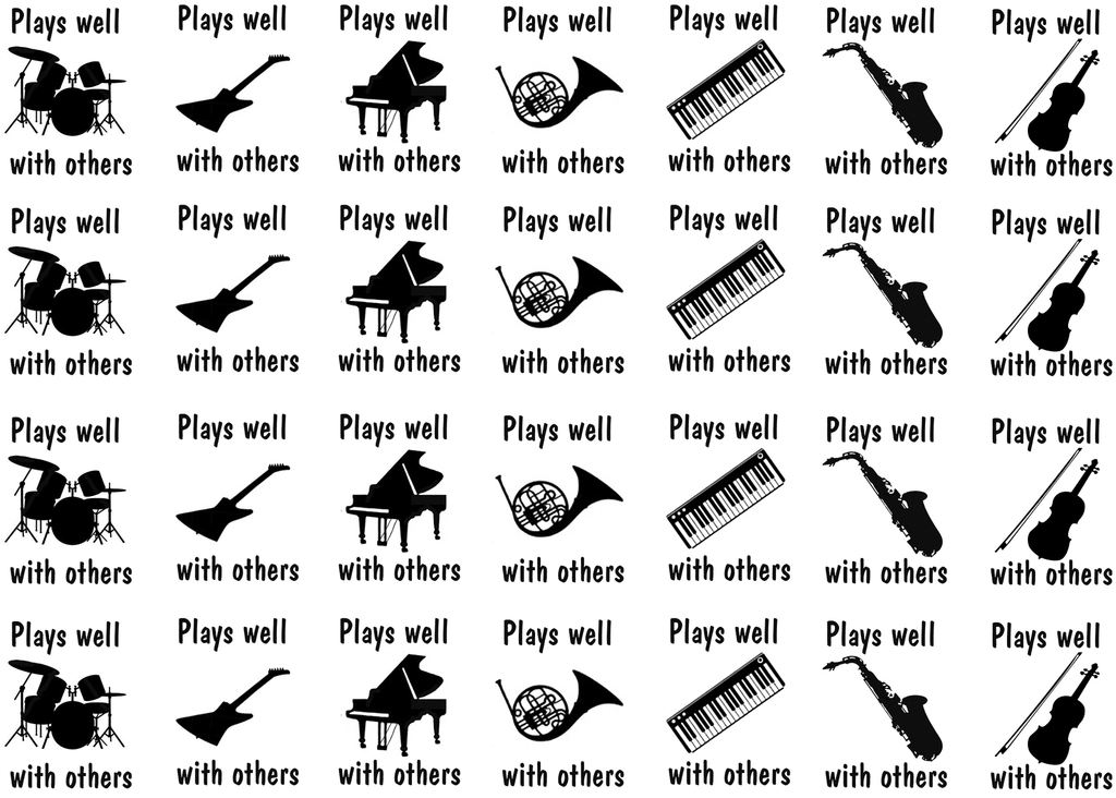 "Plays well with others  1-1/16"" tall X 7/8"" Black #409 Fused Glass Decals"