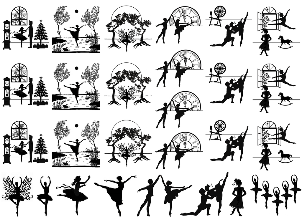 "At the Ballet  1"" to 1-1/8""  Black #411 Fused Glass Decals"