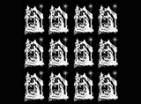 "Nativity  1-1/16"" Black #443 or #444 White  Fused Glass Decals"