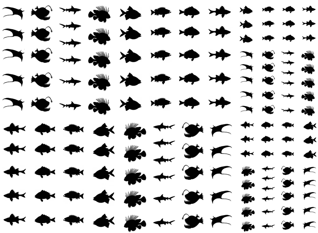 "Deep Sea Fish  1/4"" to 1/2"" Black #423 or White #368 Fused Glass Decals"