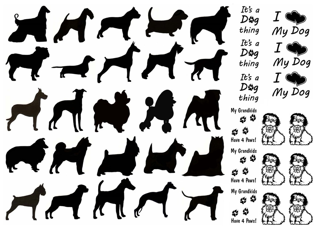 "Dogs  3/4"" to 1""  Black  Fused Glass Decals"