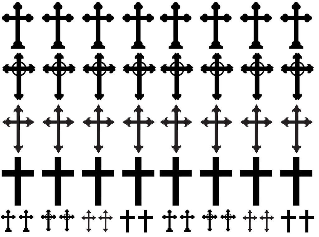 "Crosses  1/2"" to 1-1/16""  Black or White Fused Glass Decals"