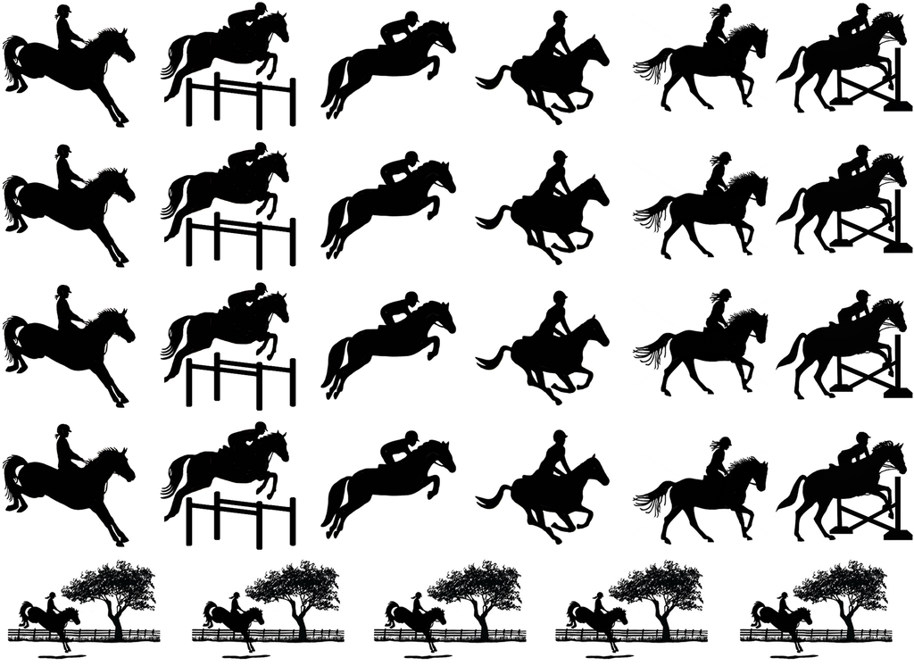"Horse Eventing  1"" Black #452 or White # 589 Fused Glass Decals"