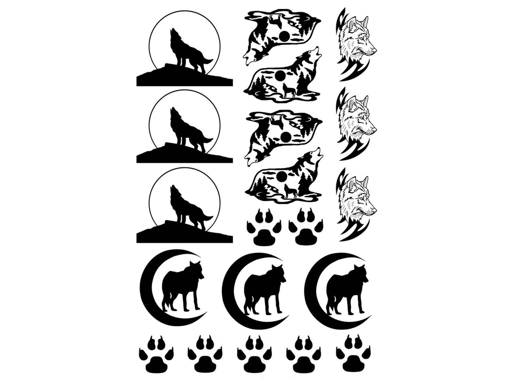 "Wolves   1/2"" to 1-1/8""   Black #446 Fused Glass Decals"