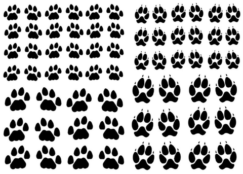 "Paw Prints 1/2"" to 3/4""  Black 447 or White 364 Fused Glass Decals"