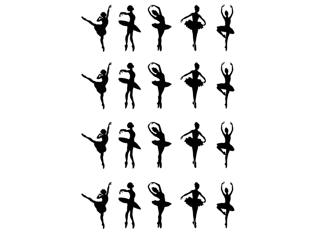 "Ballerina  1""  Black #455 Fused Glass Decals"