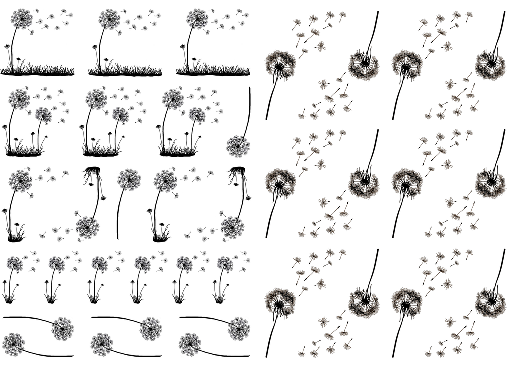 "Dandelions  3/4"" to 1-1/2"" Black #464 or White #484 Fused Glass Decals"