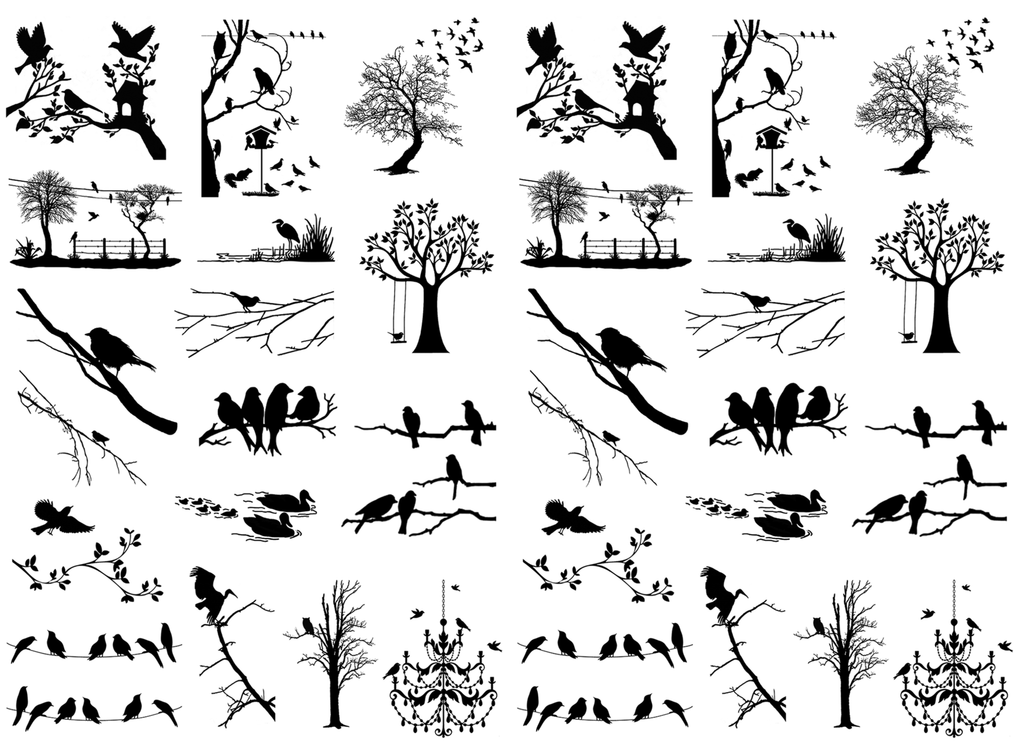 "Bird Sanctuary  1"" to 1-1/4""   Black #465 Fused Glass Decals"