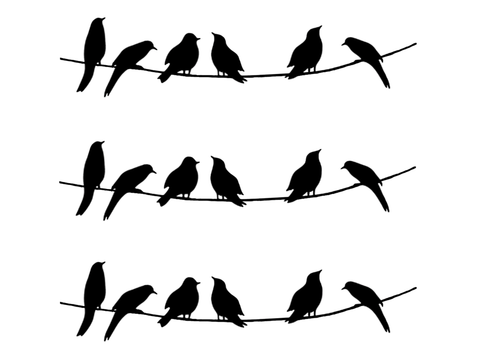 "Barrette Birds on Wire Medium 3 pcs 3-1/4""  Black #470 or White #490 Fused Glass Decals"